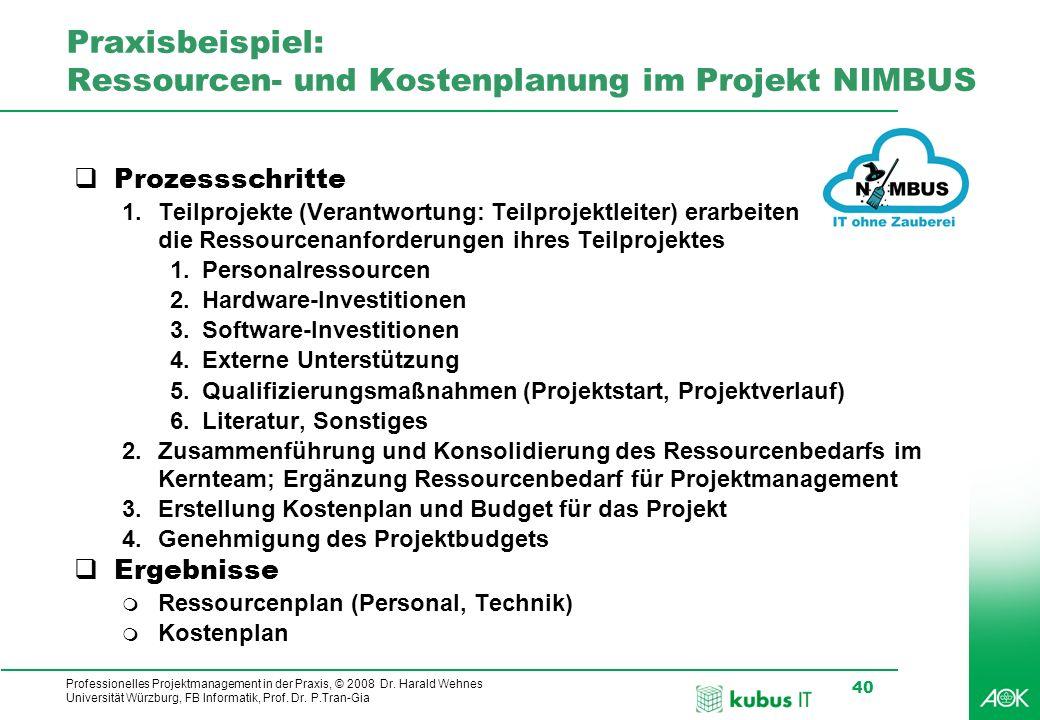 Praxisbeispiel: Ressourcen- und Kostenplanung im Projekt NIMBUS