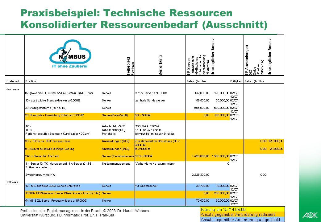 Praxisbeispiel: Technische Ressourcen Konsolidierter Ressourcenbedarf (Ausschnitt)