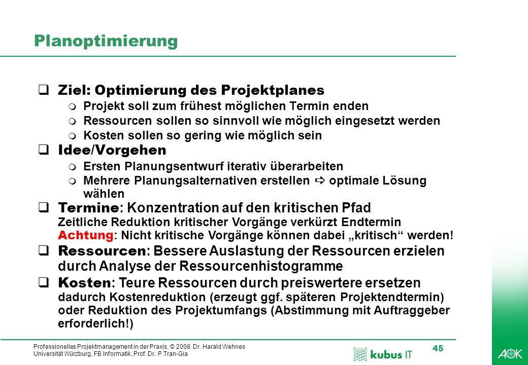 Planoptimierung Ziel: Optimierung des Projektplanes Idee/Vorgehen