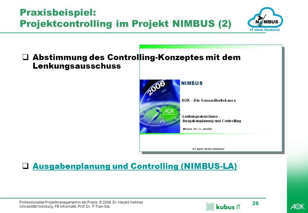 Praxisbeispiel: Projektcontrolling im Projekt NIMBUS (2)