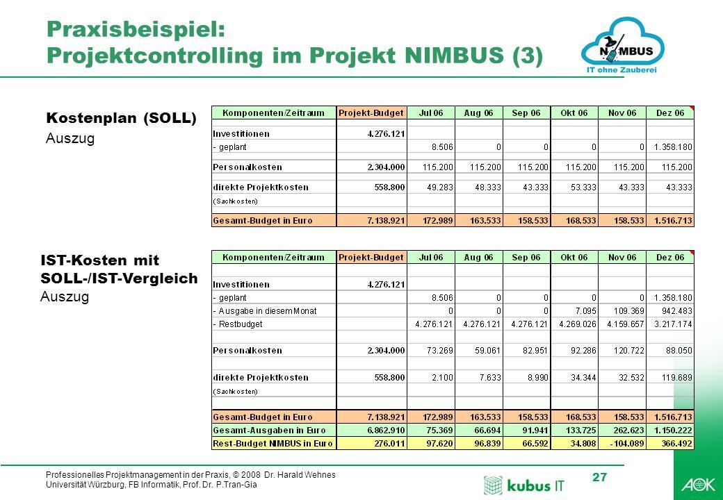 Praxisbeispiel: Projektcontrolling im Projekt NIMBUS (3)