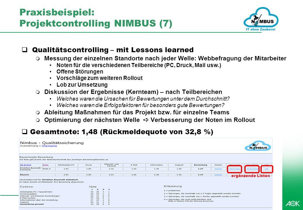 Praxisbeispiel: Projektcontrolling NIMBUS (7)