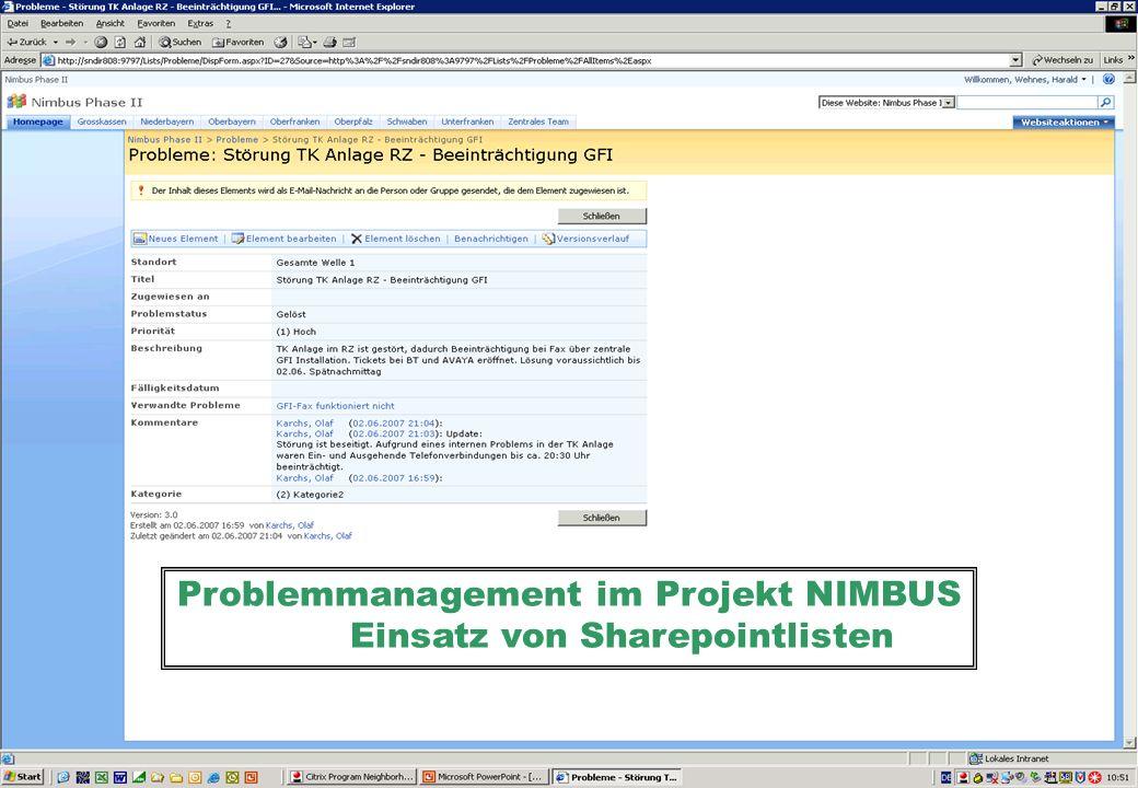 Problemmanagement im Projekt NIMBUS Einsatz von Sharepointlisten