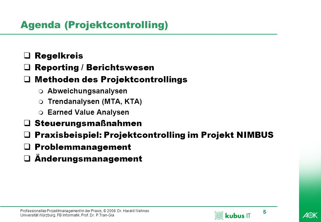 Agenda (Projektcontrolling)