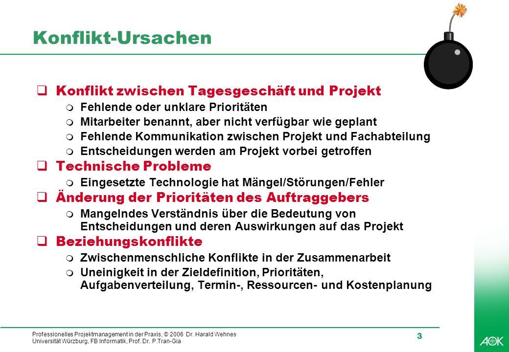 Konflikt-Ursachen Konflikt zwischen Tagesgeschäft und Projekt