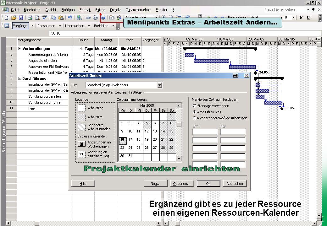Ergänzend gibt es zu jeder Ressource einen eigenen Ressourcen-Kalender