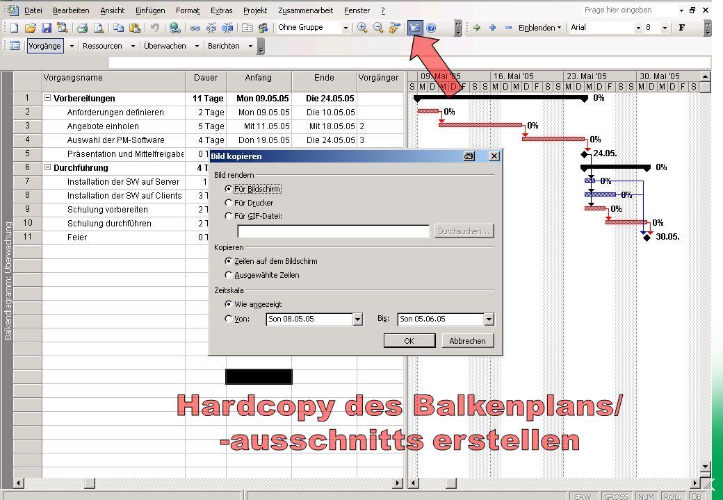 Hardcopy des Balkenplans/ -ausschnitts erstellen
