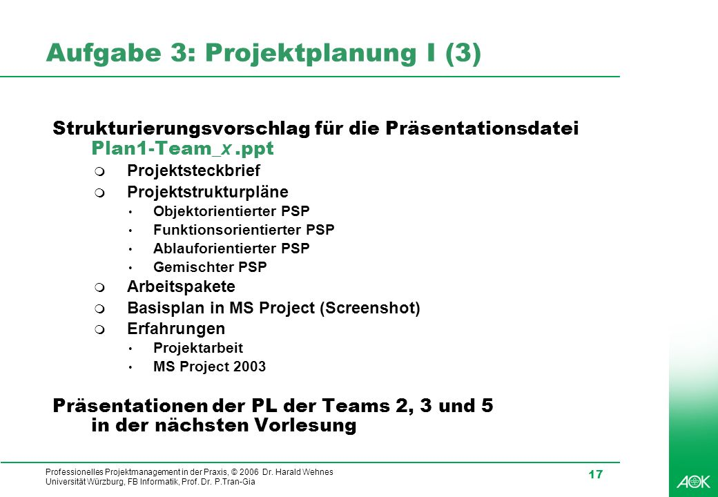 Aufgabe 3: Projektplanung I (3)