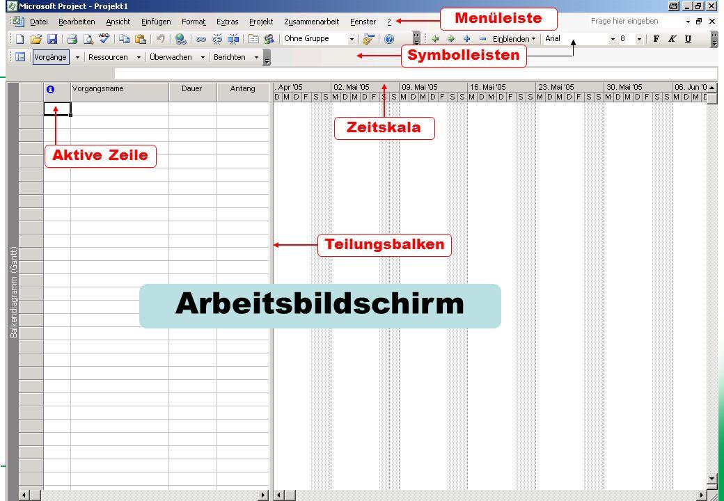 Arbeitsbildschirm Menüleiste Symbolleisten Zeitskala Aktive Zeile