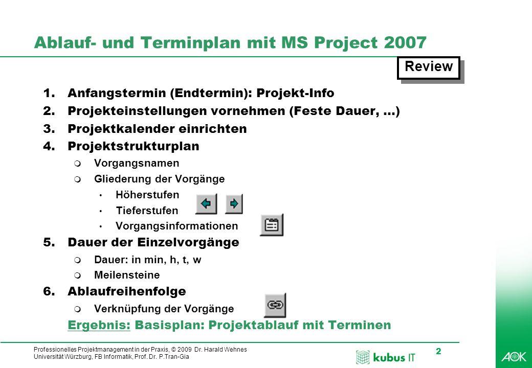 Ablauf- und Terminplan mit MS Project 2007