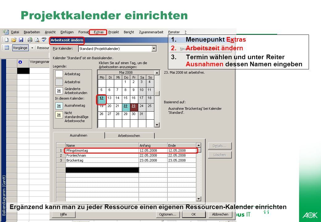 Projektkalender einrichten