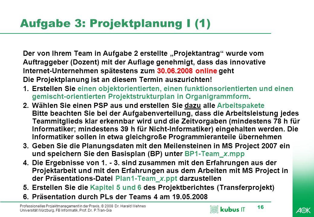 Aufgabe 3: Projektplanung I (1)