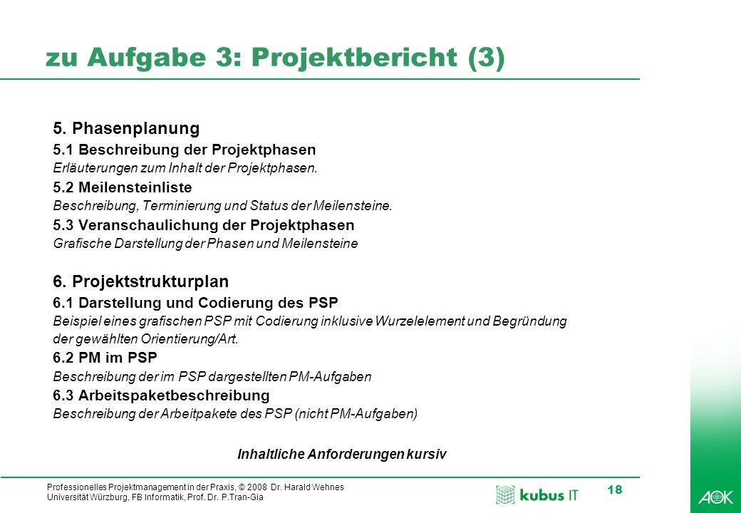 zu Aufgabe 3: Projektbericht (3)