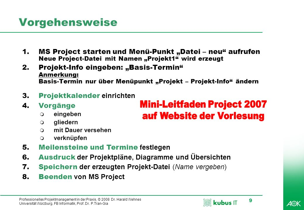 Vorgehensweise Mini-Leitfaden Project 2007 auf Website der Vorlesung