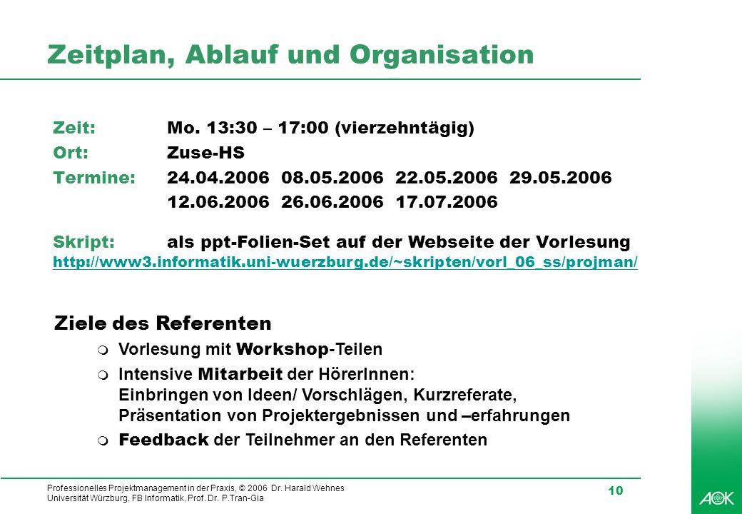 Zeitplan, Ablauf und Organisation