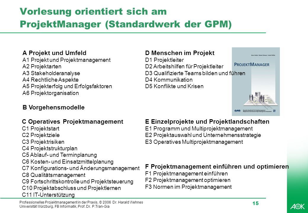 Vorlesung orientiert sich am ProjektManager (Standardwerk der GPM)