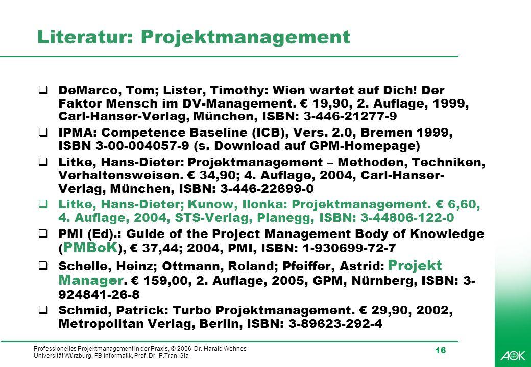 Literatur: Projektmanagement