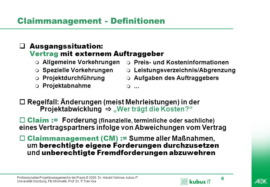 Claimmanagement - Definitionen