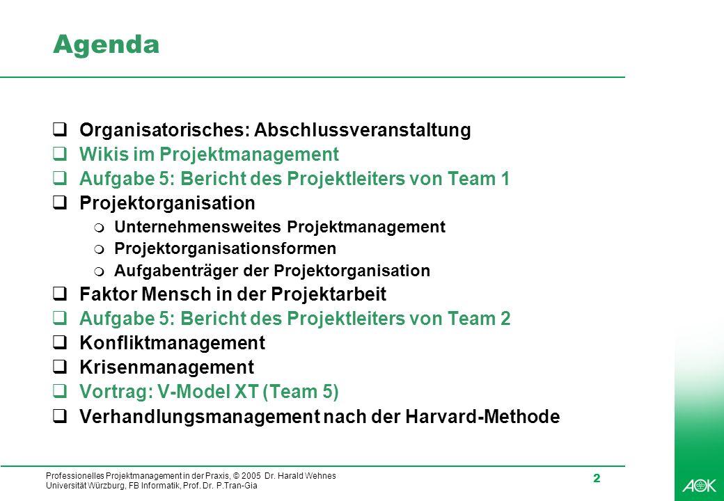 Agenda Organisatorisches: Abschlussveranstaltung