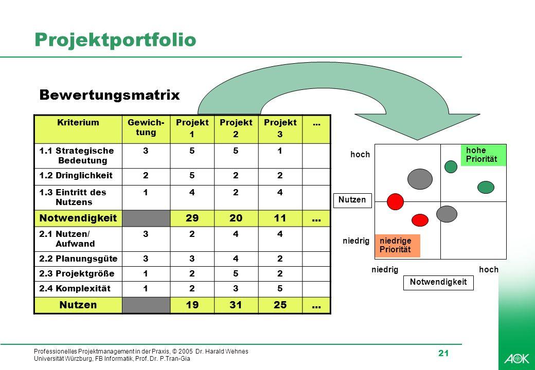 Projektportfolio Bewertungsmatrix Notwendigkeit 29 20 11 Nutzen 19 31