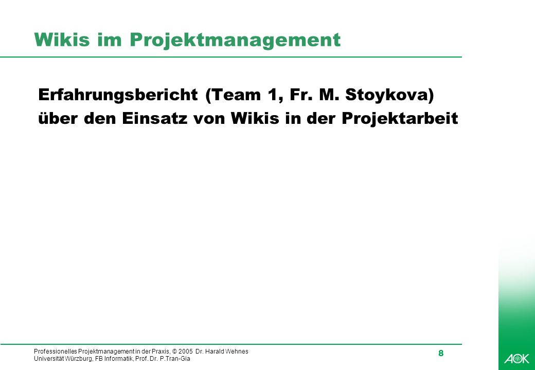 Wikis im Projektmanagement