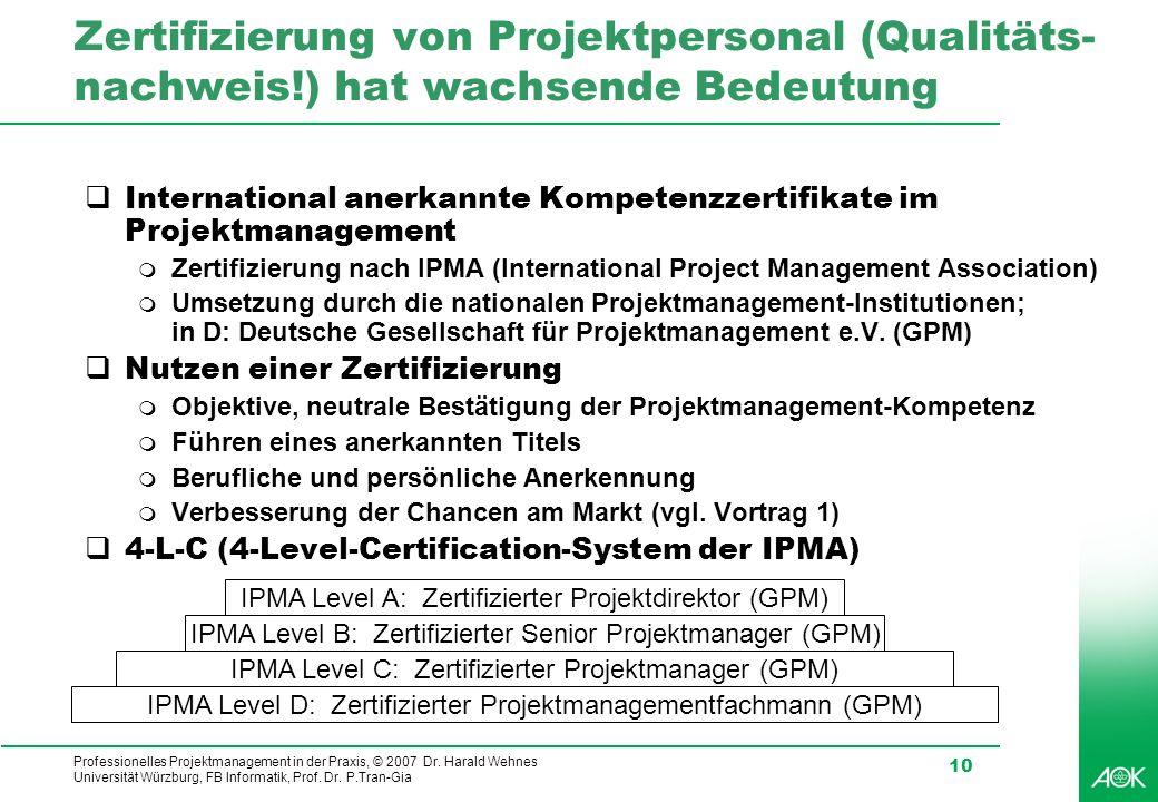 Zertifizierung von Projektpersonal (Qualitäts-nachweis