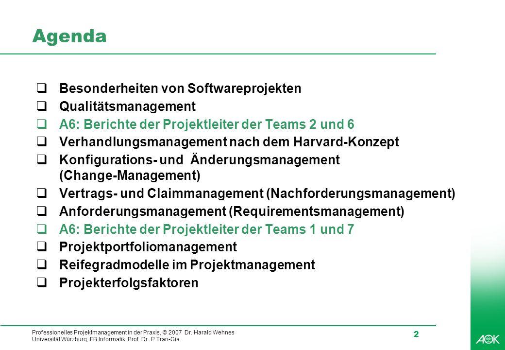 Agenda Besonderheiten von Softwareprojekten Qualitätsmanagement