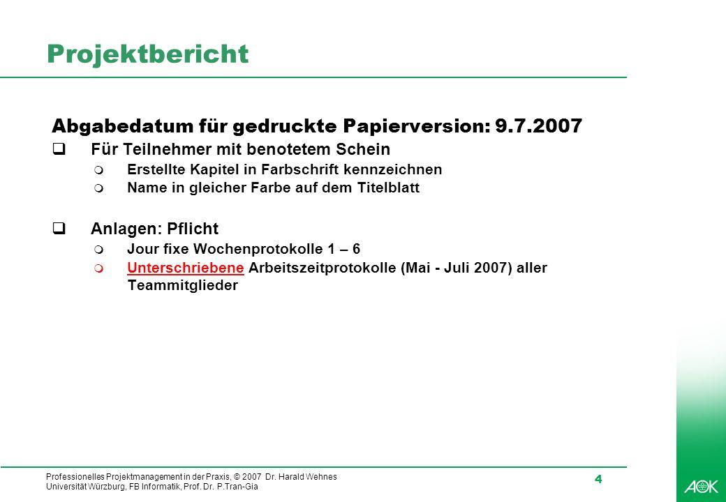 Projektbericht Abgabedatum für gedruckte Papierversion: 9.7.2007