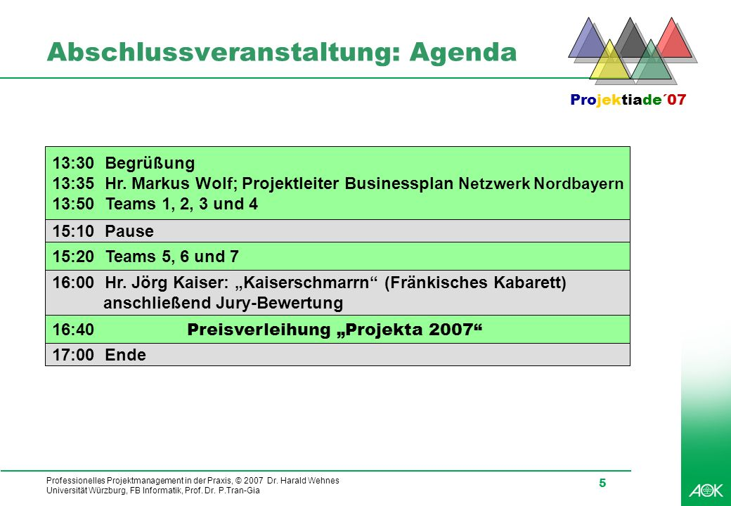 Abschlussveranstaltung: Agenda