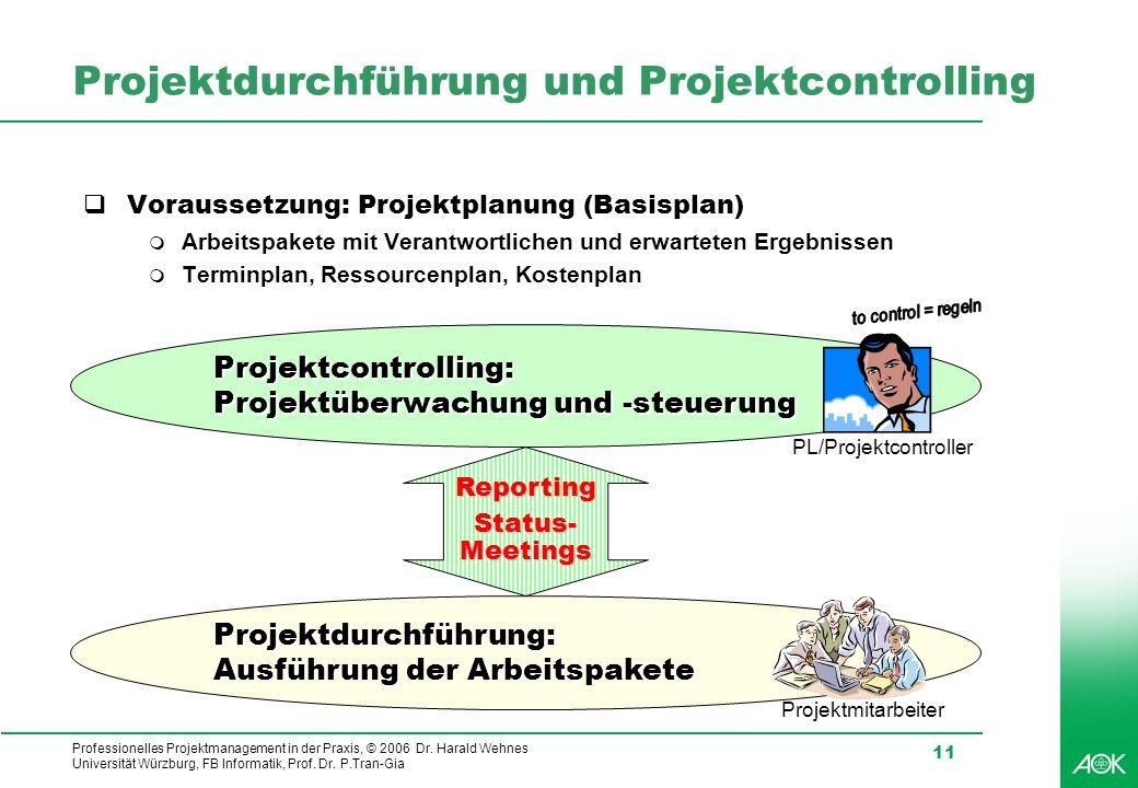 Projektdurchführung und Projektcontrolling