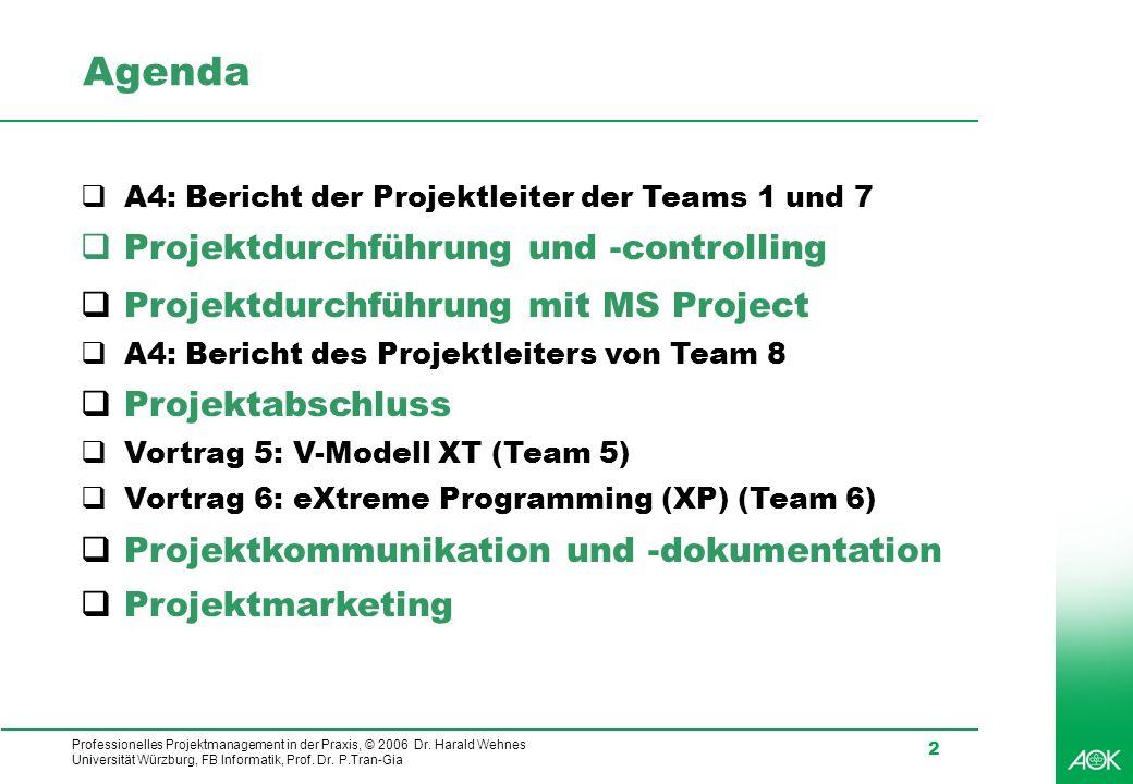 Agenda Projektdurchführung und -controlling