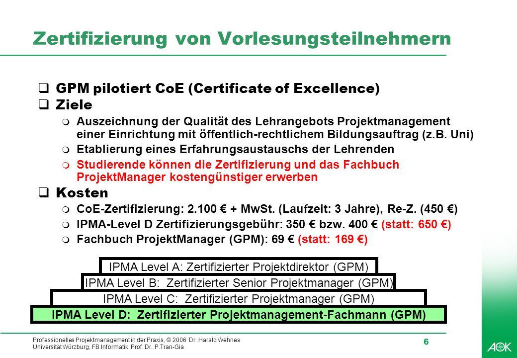 Zertifizierung von Vorlesungsteilnehmern
