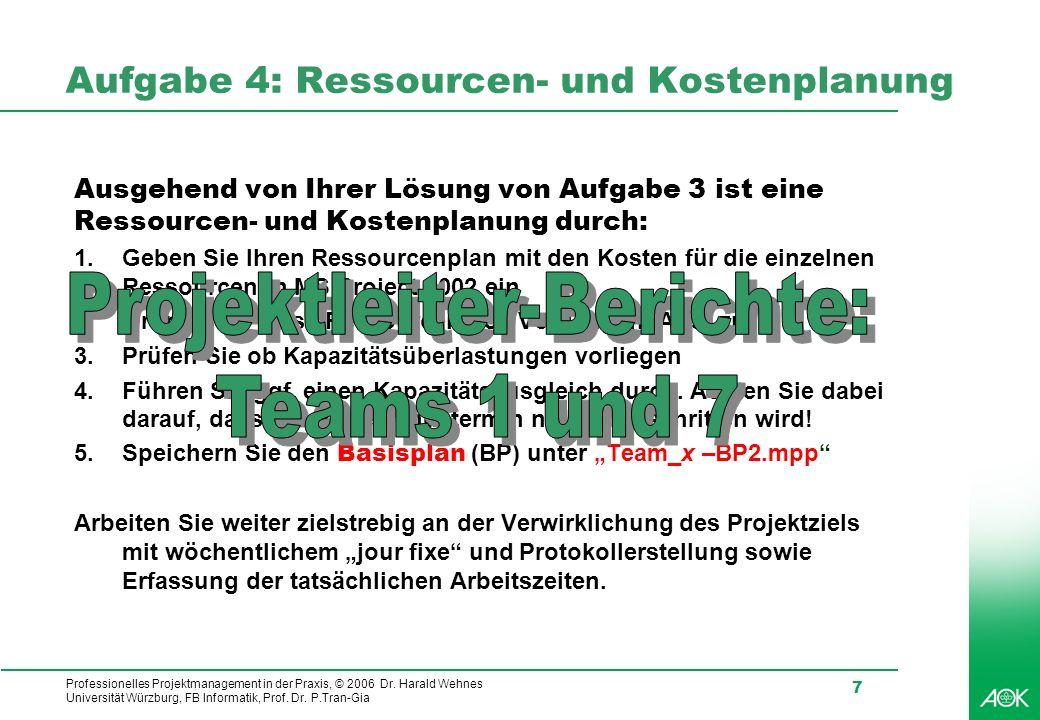 Aufgabe 4: Ressourcen- und Kostenplanung