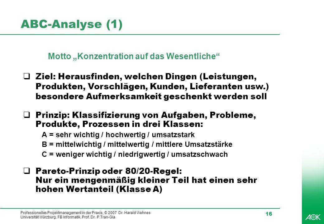 """ABC-Analyse (1) Motto """"Konzentration auf das Wesentliche"""