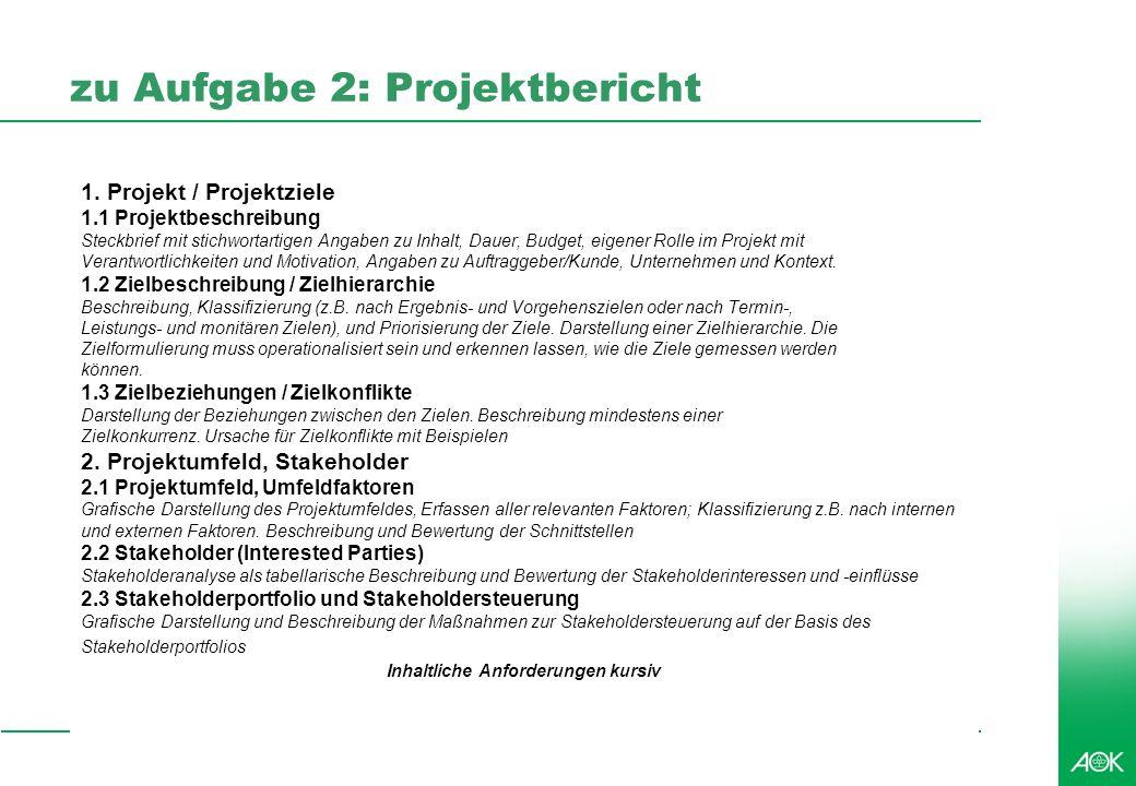 zu Aufgabe 2: Projektbericht