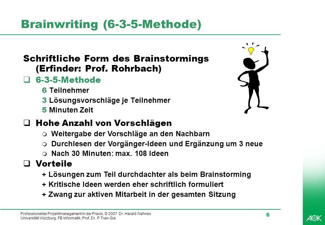 Brainwriting (6-3-5-Methode)