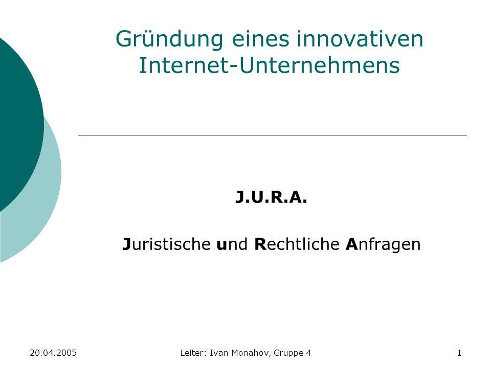 Gründung eines innovativen Internet-Unternehmens