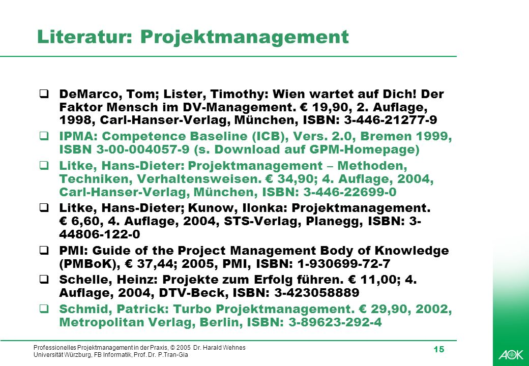 Literatur: Projektmanagement