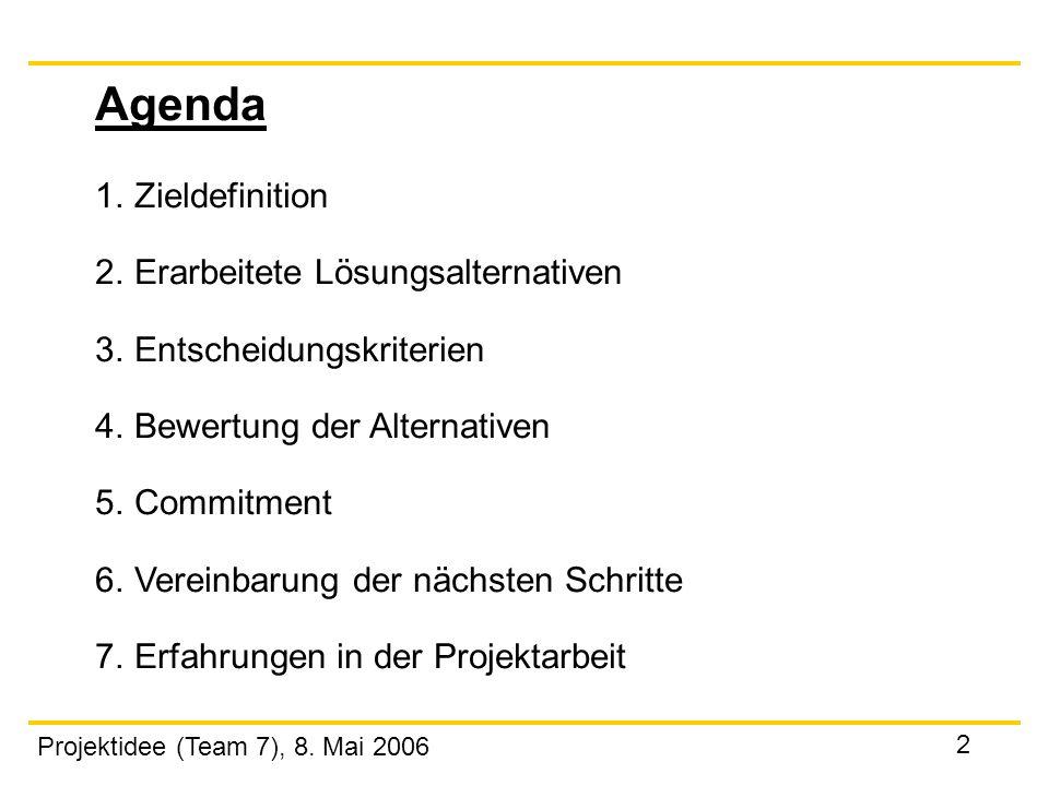 Agenda 1. Zieldefinition 2. Erarbeitete Lösungsalternativen
