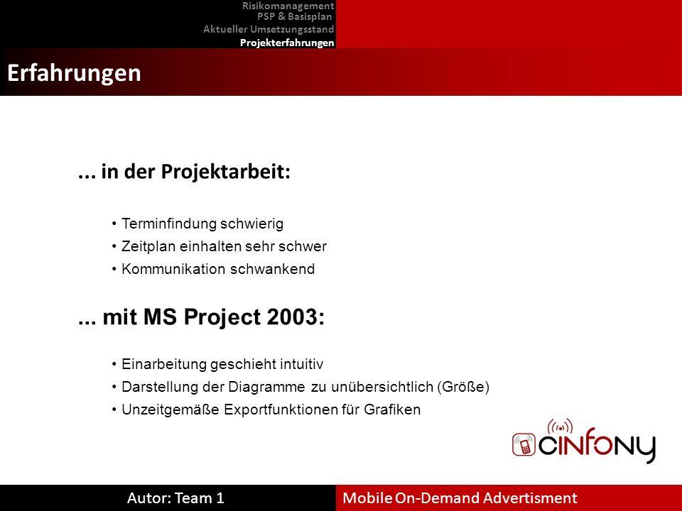 Erfahrungen ... in der Projektarbeit: ... mit MS Project 2003: