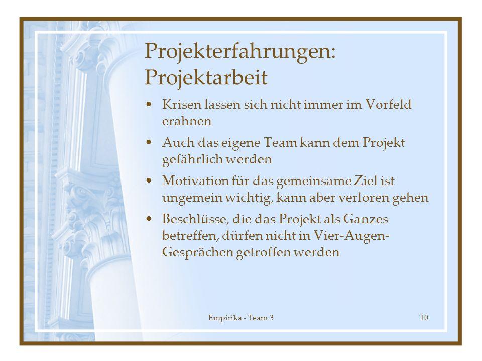 Projekterfahrungen: Projektarbeit
