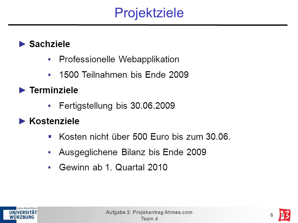 Projektziele Sachziele Professionelle Webapplikation