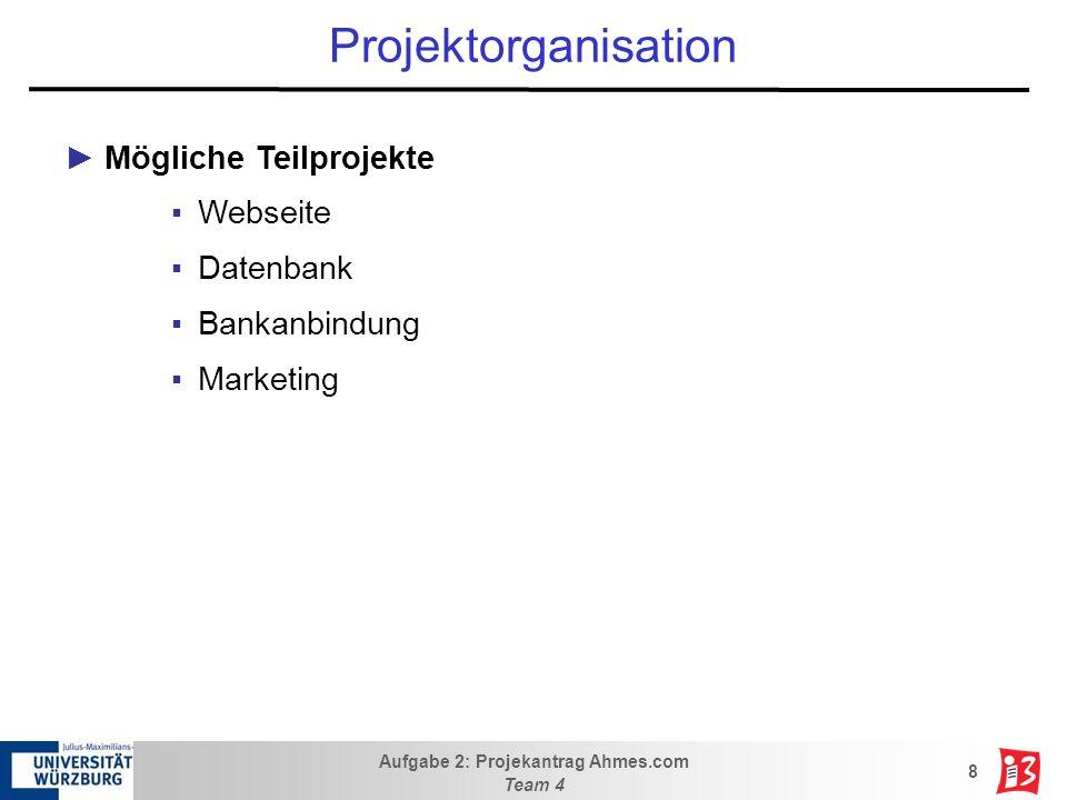 Projektorganisation Mögliche Teilprojekte Webseite Datenbank