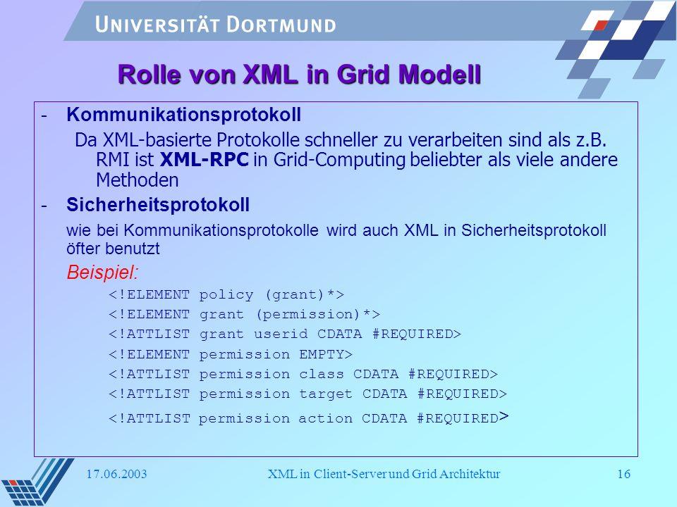 Rolle von XML in Grid Modell