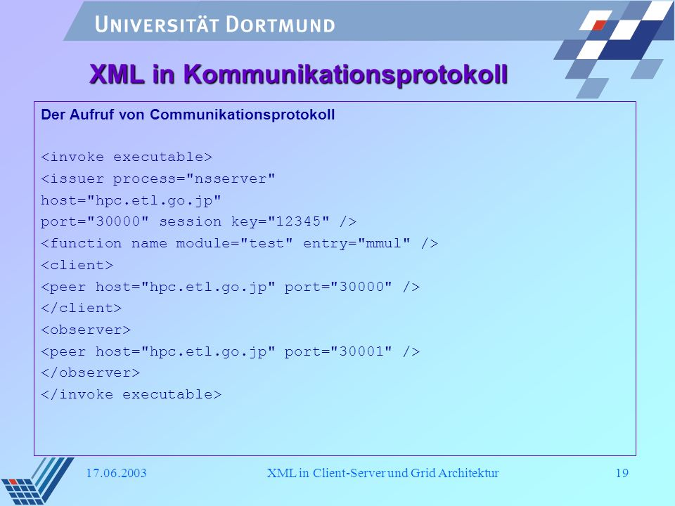 XML in Kommunikationsprotokoll