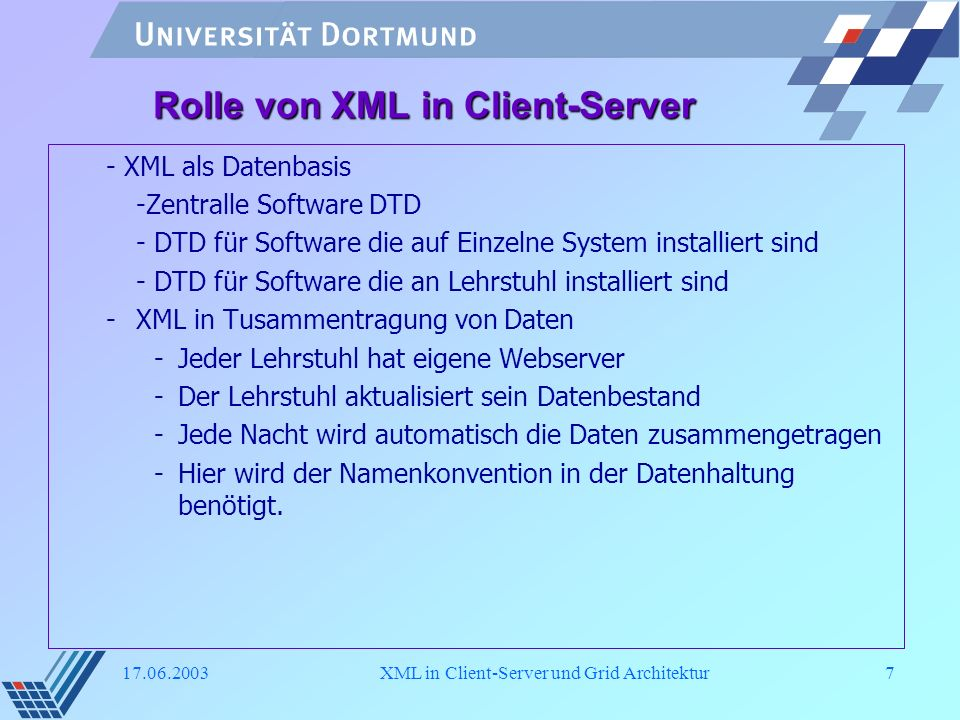 Rolle von XML in Client-Server