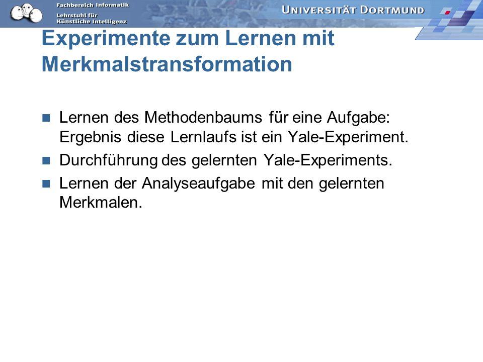 Experimente zum Lernen mit Merkmalstransformation