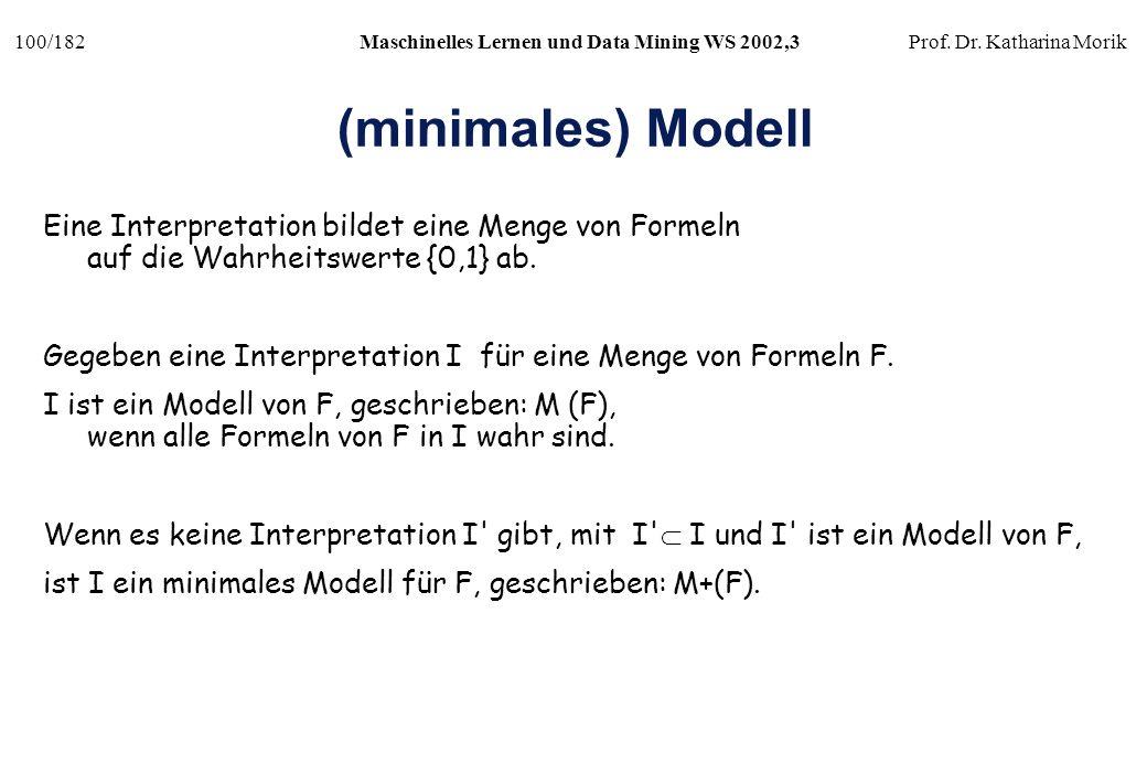 (minimales) Modell Eine Interpretation bildet eine Menge von Formeln auf die Wahrheitswerte {0,1} ab.