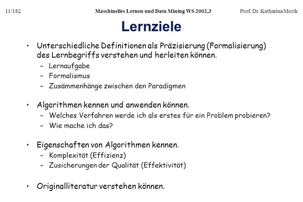 Lernziele Unterschiedliche Definitionen als Präzisierung (Formalisierung) des Lernbegriffs verstehen und herleiten können.