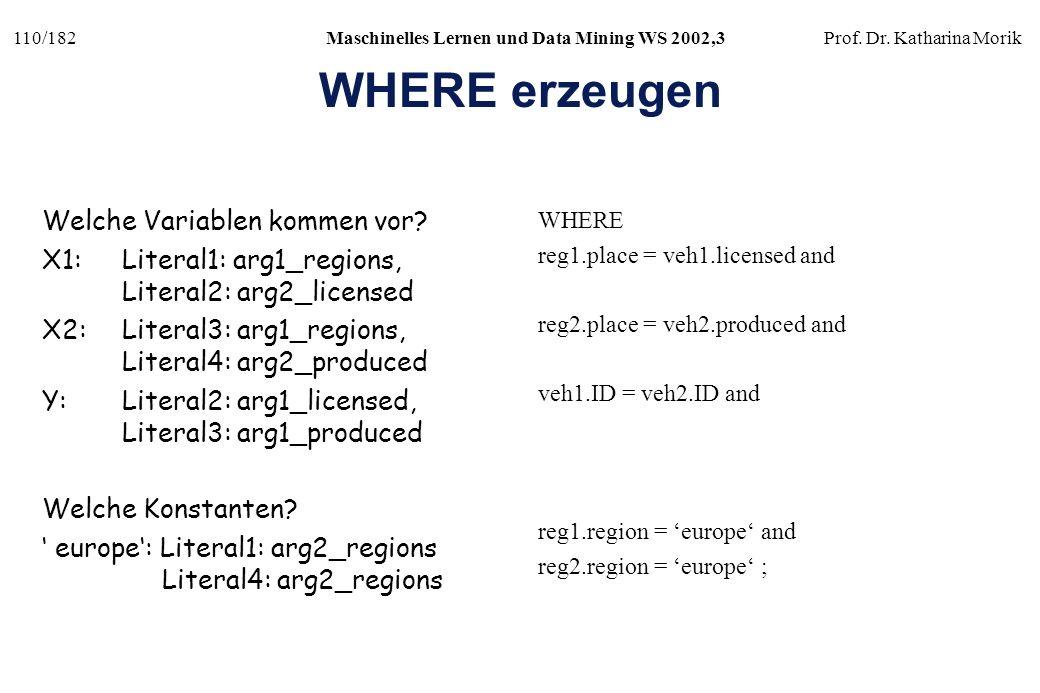 WHERE erzeugen Welche Variablen kommen vor